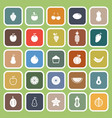 fruit flat icons on green background vector image