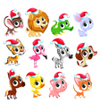 funny christmas animals vector image vector image