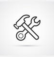 hammer and wrench line flat icon eps10 vector image vector image