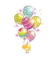 Happy Birthday background with bird and balloons vector image vector image