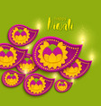 happy diwali holiday paper banner with diya lamp vector image