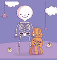 happy halloween celebration skeleton with pumpkins vector image