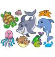 happy sea animals collection vector image