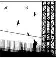 Industrial cityscape with birds vector image vector image