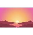 Landscape hills and river at sunrise silhouettes vector image