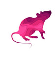 mouse animal sign in paper cut style vector image