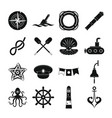 nautical icons set simple style vector image vector image