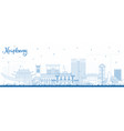 outline haiphong vietnam city skyline with blue vector image vector image