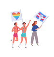 people on pride parade holding rainbow and vector image