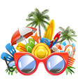red sunglasses with beach concept vector image