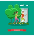 Running couple in a park Sport fitness concept vector image
