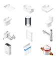 Sanitaru engineering detailed isometric icon set vector image