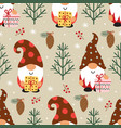 seamless pattern with christmas gnomes vector image vector image