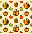 seamless pattern with pumpkin and apples vector image vector image
