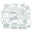 Set of fast Food Icons In Linear Style vector image