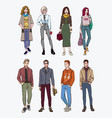 set of hand drawn stylish young people at street vector image vector image