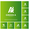 set of letter a with leaf logo template green vector image vector image