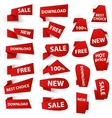 Set of red origami paper banners and stickers vector image vector image