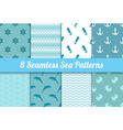 Set of seamless sea patterns Wave anchor dolphin vector image