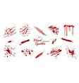 set various blood or paint splatters isolated vector image vector image