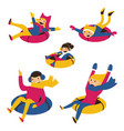 set with happy family on snow tubes vector image vector image