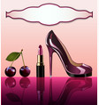 shiny glamorous shoes and cherry lipstick with vector image vector image