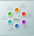 six colorful hexagons with thin line pictograms vector image