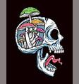 skull and mushroom vector image