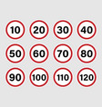 speed limit road sign set with red border vector image