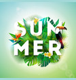 summer with toucan bird and parrots vector image vector image