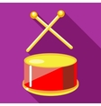 Toy drum with drumsticks icon flat style vector image vector image