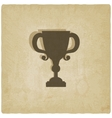 trophy cup old background vector image