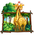 Two giraffes hugging in the jungle vector image vector image