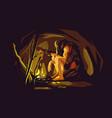 wild caveman sitting near bonfire vector image vector image