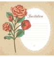 Vintage invitation card with red rose vector image