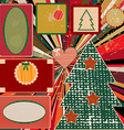 Vintage Christmas background with frames vector image