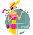 Girl with glass of wine eps10 vector image