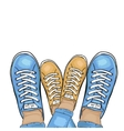Summer trendy sports shoes Feet in sports shoes vector image