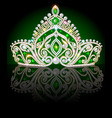 a crown diadem shiny tiara with emeralds on a vector image vector image