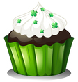 A flavorful chocolate cupcake vector image vector image