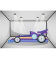 A violet sports car inside the garage vector image