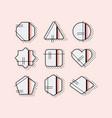 abstract black pop art emblems set on pink vector image vector image