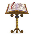 ancient book of spells with symbols on stand vector image vector image