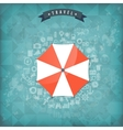 Beach umbrella web flat icon Old vintage travel vector image