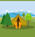 camping weekend man is sleeping in a tent vector image