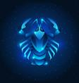cancer zodiac sign blue star horoscope symbol vector image