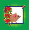christmas brown rat greetings vector image vector image