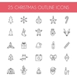 Christmas outline icons vector image