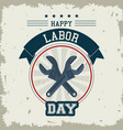 colorful emblem of happy labor day with crossed vector image vector image
