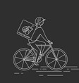 courier on bicycledelivering food vector image